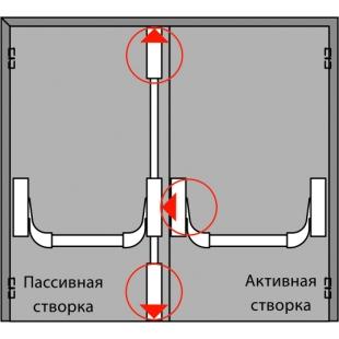 Комплект АНТИПАНИКИ PHA 2000 на двупольную дверь с притвором шириной до 1300 мм